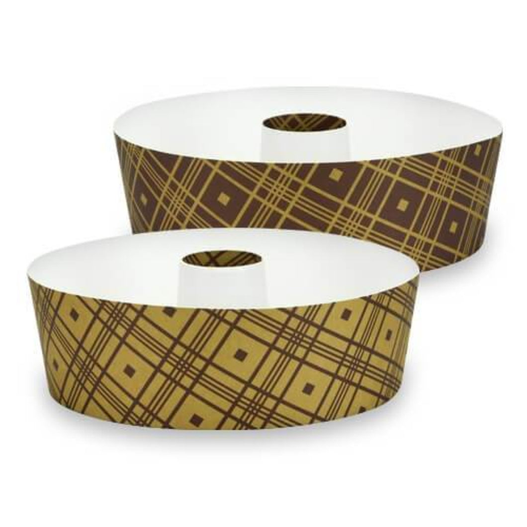 Premium Heavyweight Paper Plaid Tube Round Loaf Pans - 6.5