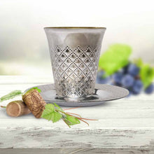 Decor Diamond wine Kiddush / kiddish Cup and Saucers Silver 5 oz 5pc set