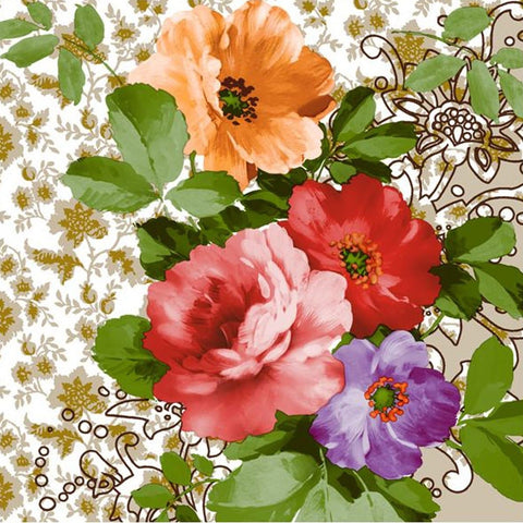 Floral Devotion Disposable Lunch Paper Napkins 20ct