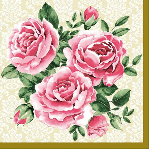 Trio of Roses Disposable Lunch Paper Napkins 20ct