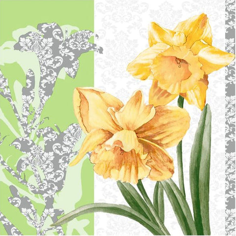 Golden Blooms Disposable Lunch Paper Napkins 20ct