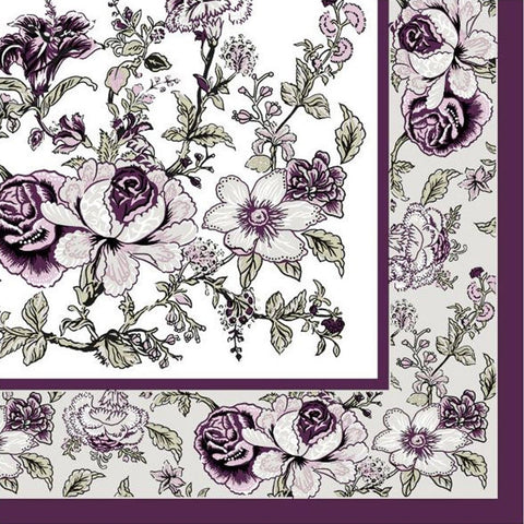 Eggplant Bountiful Blossoms Disposable Lunch Paper 3-Ply Napkins 20ct