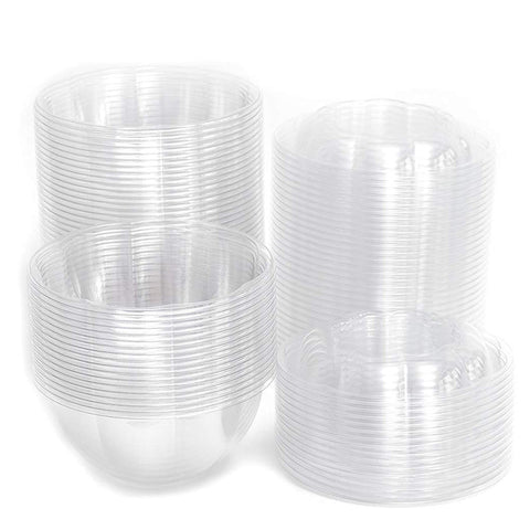 32 oz. Clear Plastic Salad Bowl with Lid - 50Pk