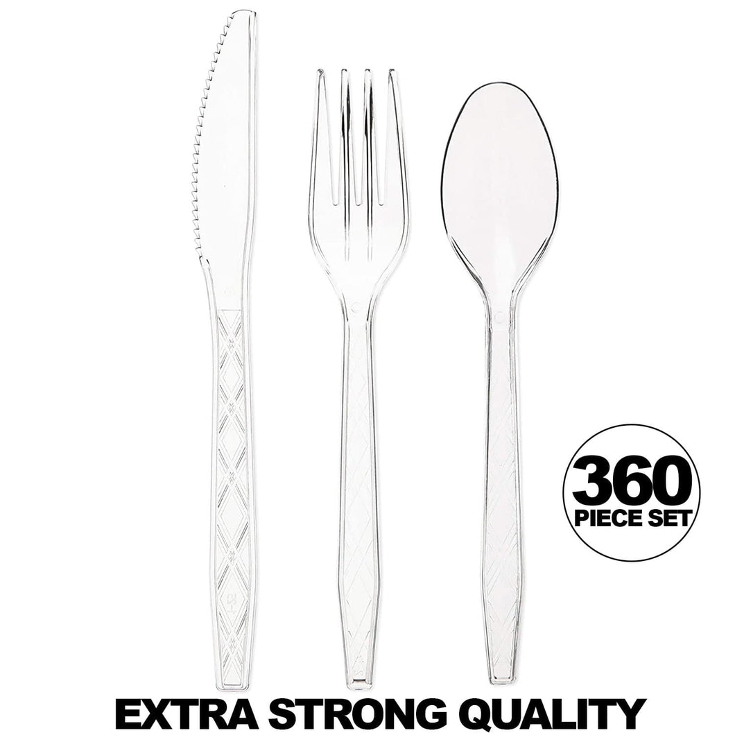 Clear Fancy Flatware Disposable Utensils Set 180 Forks 120 Spoons 60 Knives 360CT