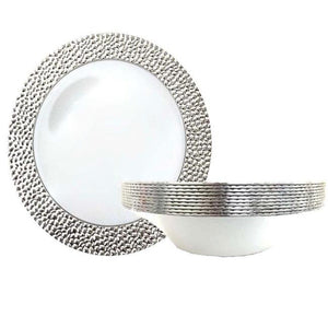 Hammered Collection Soup Bowls White Silver 12 oz