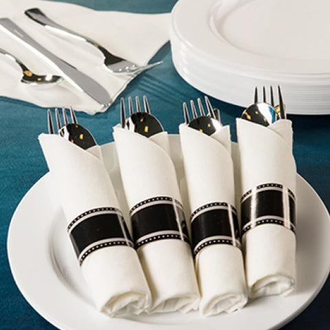 Pre-Rolled Cutlery And Napkin Set  Black 10pc
