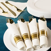 Pre-Rolled Cutlery And Napkin Set Gold 10pc