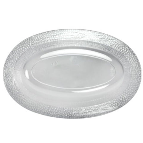 15oz Pebbled Clear Plastic Oval Serving Bowl 10Ct