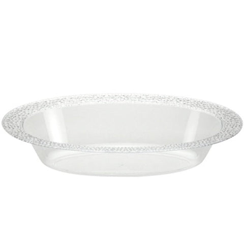 48oz Pebbled Clear Plastic Oval Serving Bowl 2Ct