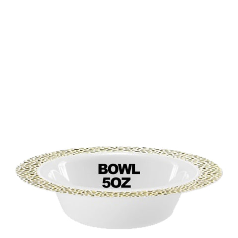 Pebbled Plastic Dessert Bowl Gold Rim 5 oz