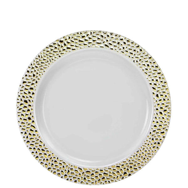 Pebbled Plastic Salad Plate Gold 7.5""