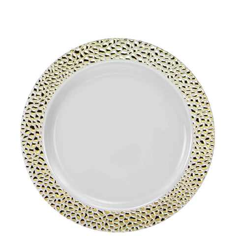 "Pebbled Plastic Salad Plate Gold 7.5"" 10Ct"