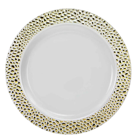"Pebbled Plastic Dinner Plate Gold Rim 9"" 10Ct"