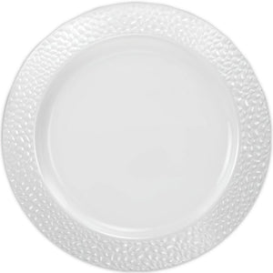 Pebbled Plastic Dinner Plate White Rim 10.25""