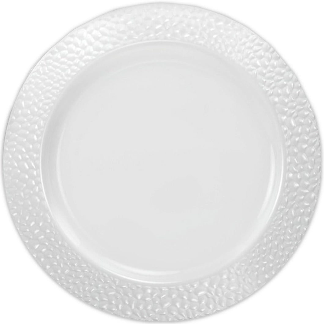 Pebbled Plastic Dinner Plate White Rim 10.25