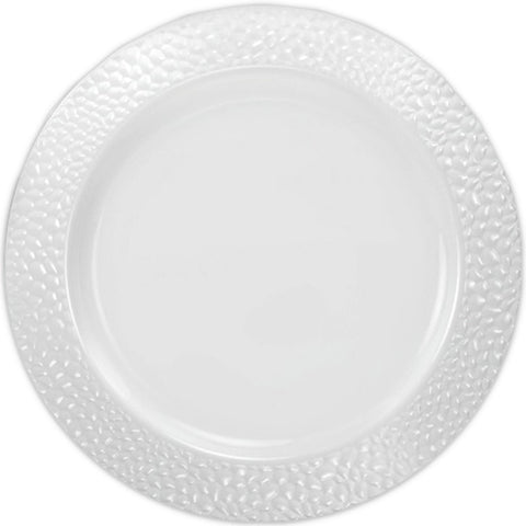 "Pebbled Plastic Dinner Plate White Rim 10.25"" 10Ct"