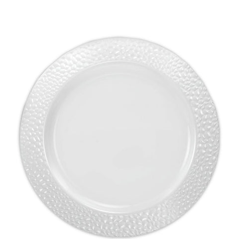 "Pebbled Plastic Salad Plate White 7.5"" 10Ct"