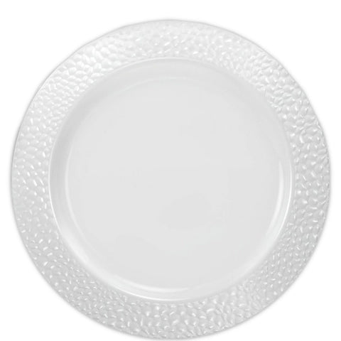 "Pebbled Plastic Dinner Plate White Rim 9"" 10Ct"