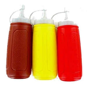 Picnic Table Dispenser Ketchup and Mustard Squeeze 3 Bottles Set