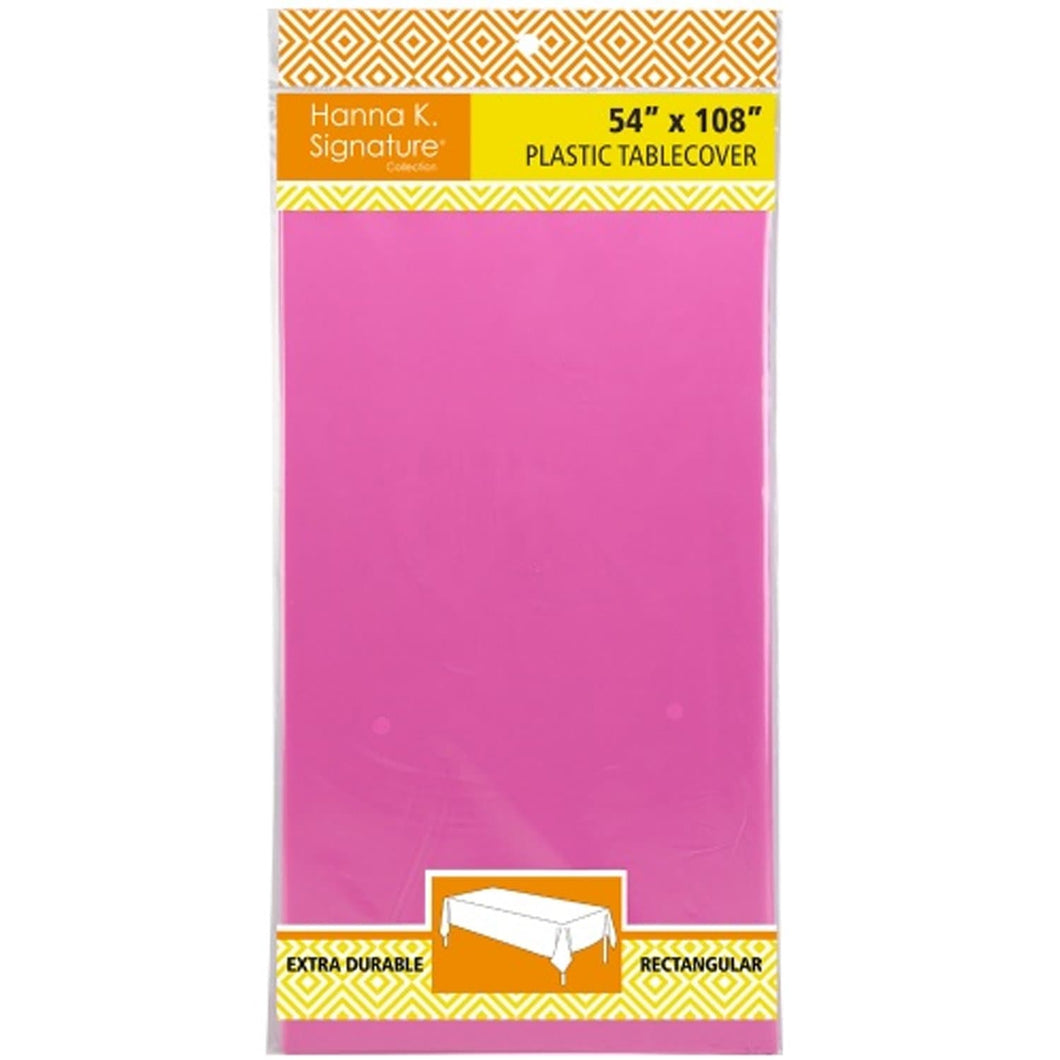 Disposable Plastic Premium Tablecloth Heavyweight Rectangle Hot Pink 54