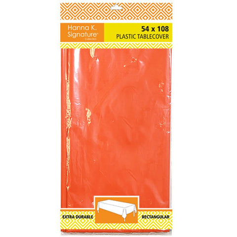 Hanna K. Signature Plastic Tablecover Orange Rectangular 54X108