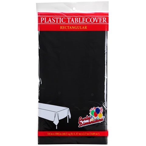 Tablecover Plastic Black Rectangular  54'' X 108''