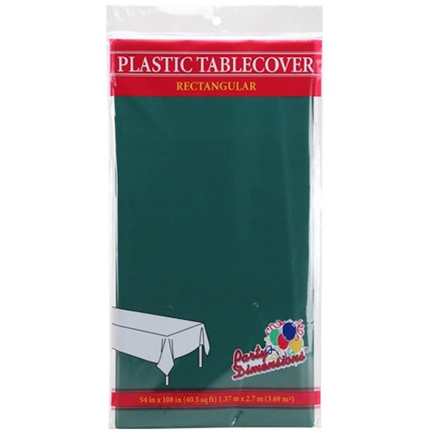 Tablecover Plastic Hunter Green Rectangular  54'' X 108''