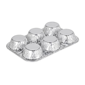 Disposable Aluminum Muffin Foil Pan 6 Cups 10PK