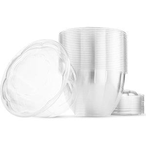 48 oz Salad To-Go Containers - Clear Plastic Disposable Salad Containers/Bowls with Airtight Lids