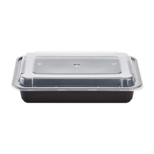 Black Rectangular Microwavable 28oz Containers With Clear Lids - 50 Pack