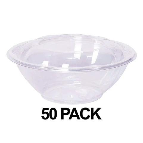 Clear Plastic Salad Bowl with Lid 24 oz 50Pk