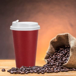 Paper Cup Maroon Hot Cold with lid 16 oz