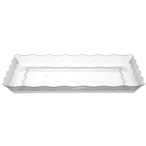"Wave 9"" x 13"" Rectangle Clear Plastic Tray"