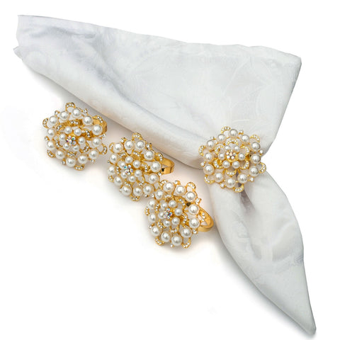 Rose Gold Pearl Napkin Rings Set of 4