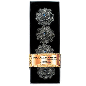 Buttercup Silver Plated with Blue Crystal Napkin Rings Set of 4 - OnlyOneStopShop
