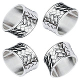 Oval Braided Silver Plated Napkin Rings Set of 4