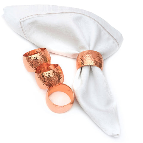 Curved Hammered Cooper Plated Napkin Rings Set of 4 - OnlyOneStopShop