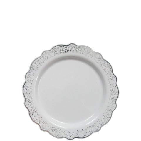 "Confetti Collections Plate White Silver 7.5"" 10Ct - OnlyOneStopShop"