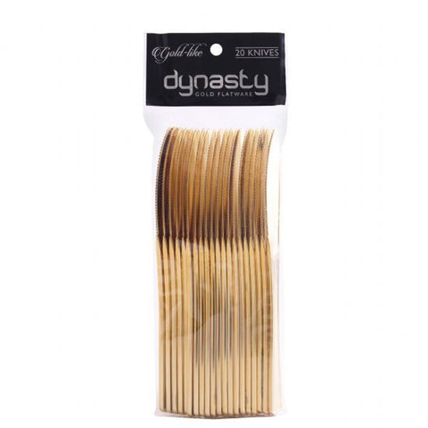 Dynasty Collection Plastic Gold Knives 20Ct
