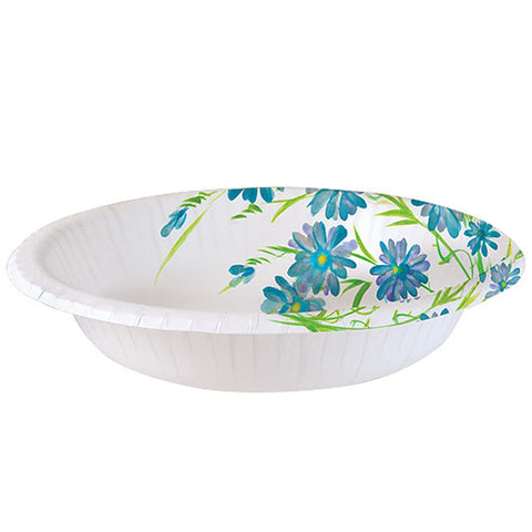 Nicole Home Collection Everyday Paper Bowl Blue Floral 20 oz 24Ct