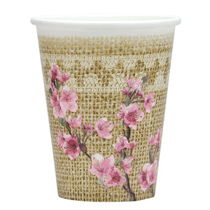 Burlap Blossom Coated Hot and Cold Cups 9oz 24Ct - OnlyOneStopShop