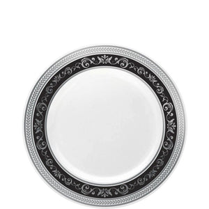 Royal Collection Plastic Dinner Plates Silver Black 7""