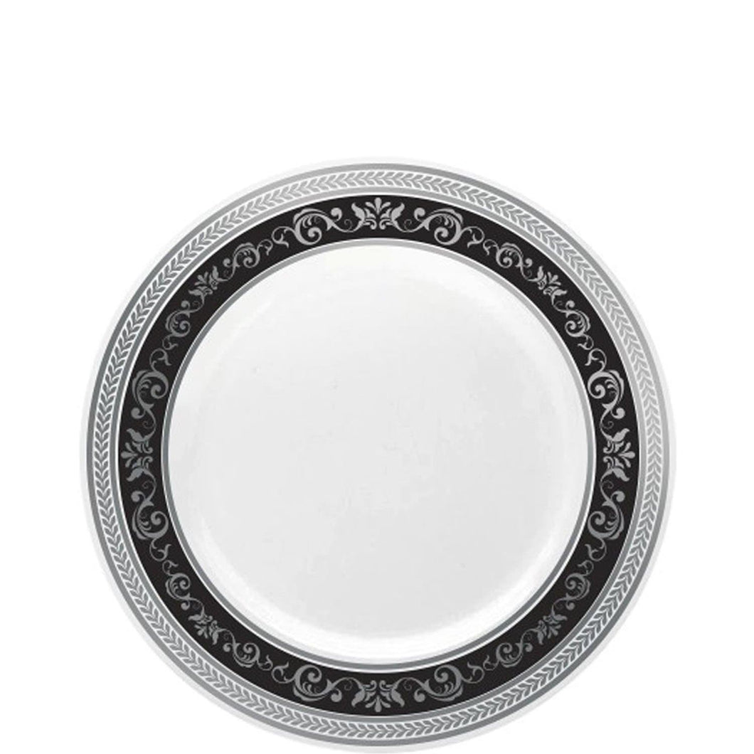 Royal Collection Plastic Dinner Plates Silver Black 7