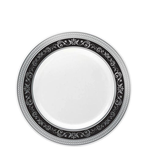 "Royal Collection Plastic Dinner Plates Silver Black 7"" 10Ct"