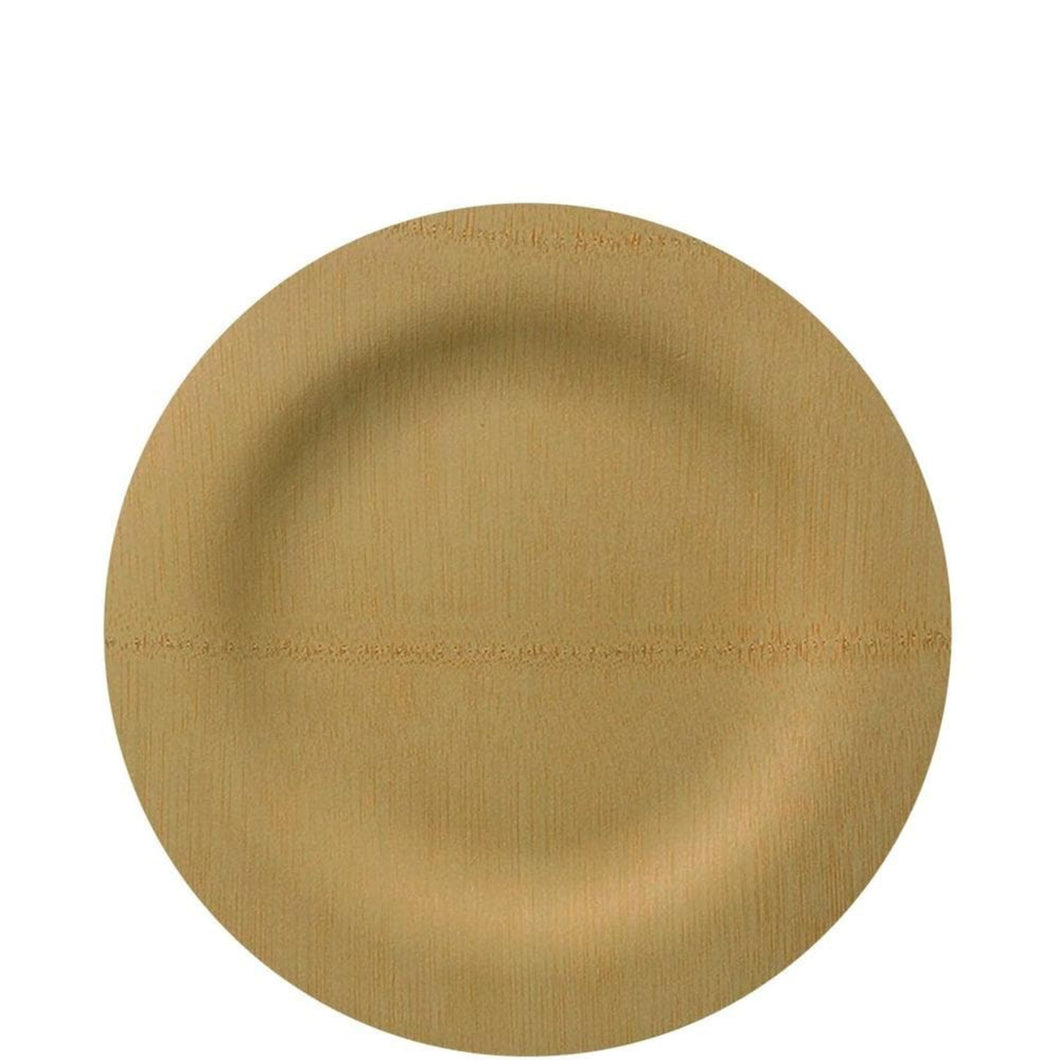 Vezee Bamboo Disposable Dinner Plates Round Size 7
