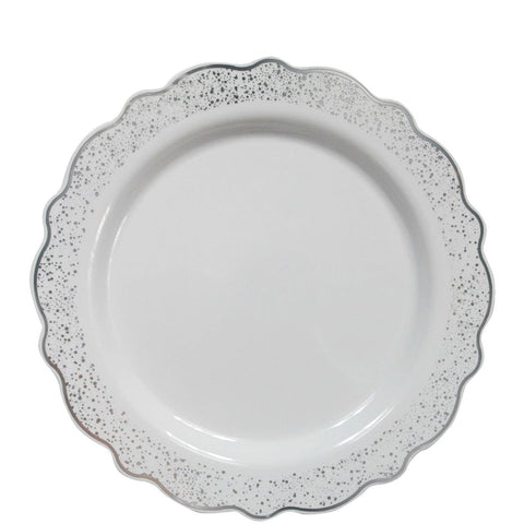 "Confetti Collections Plate White Silver 8.5"" 10Ct - OnlyOneStopShop"