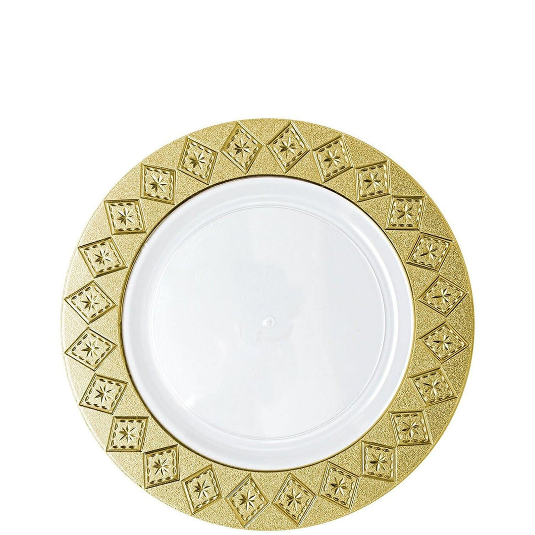 Imperial Crushed Plastic Salad Plates White Gold 7
