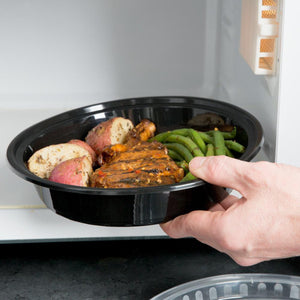Black Round Microwavable Container with Clear Lid 48 oz 50PK