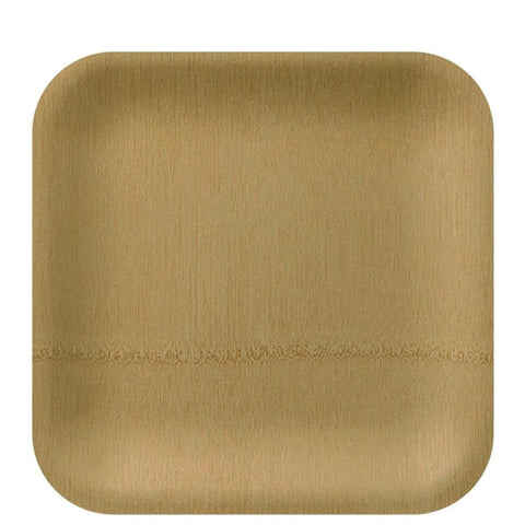"Vezee Bamboo Disposable Dinner Plates Square Size 9"" 10ct"