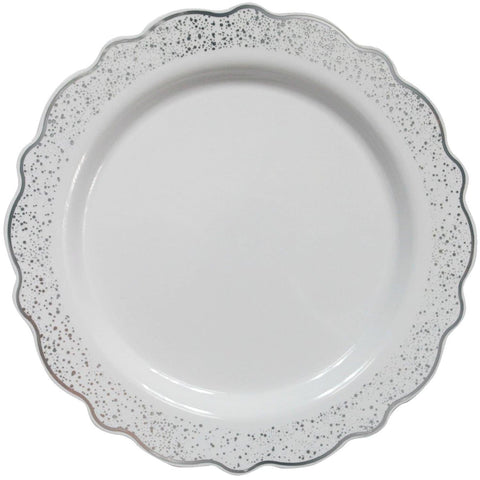 "Confetti Collections Plate White Silver 9.5"" 10Ct - OnlyOneStopShop"